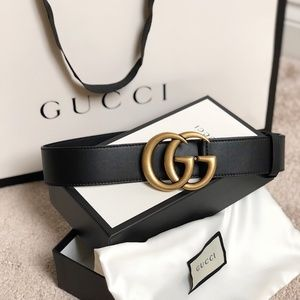 Gucci GG logo leather and suede belt NWT